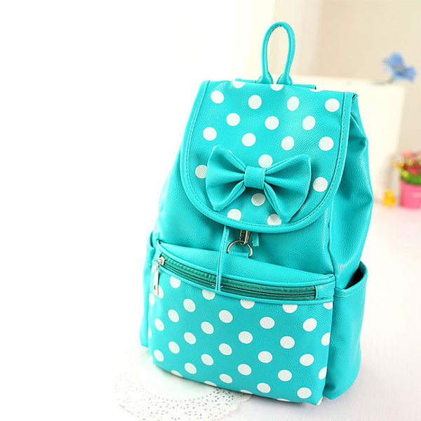 Cute  Dot Bowknot Wave Casual Leather Backpack - lilyby