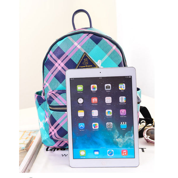 Preppy Contract Color Plaid School Backpacks - lilyby