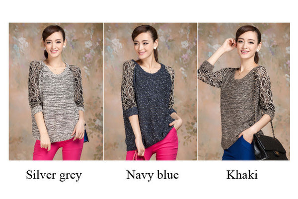 New Hollow Lace Flower Decolletage Pullover Knit Sweater - lilyby