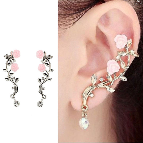 Fashion Rose Leaves Branch Flower Rhinestone Girl's Ear Clips