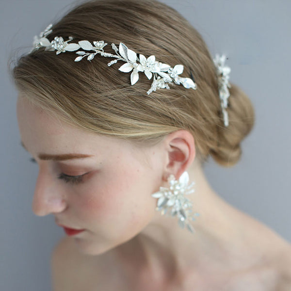 Sweet Hair Accessories Flower Pearl Wedding Bridal Crystal Hair Band Hairpin Accessories