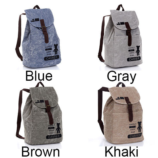 Simple Bear Print Leisure Canvas Backpack