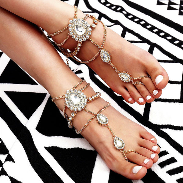 Leisure Fringed Alloy Water Droplets Rhinestone Feet Accessory Anklet Beach Women Anklet