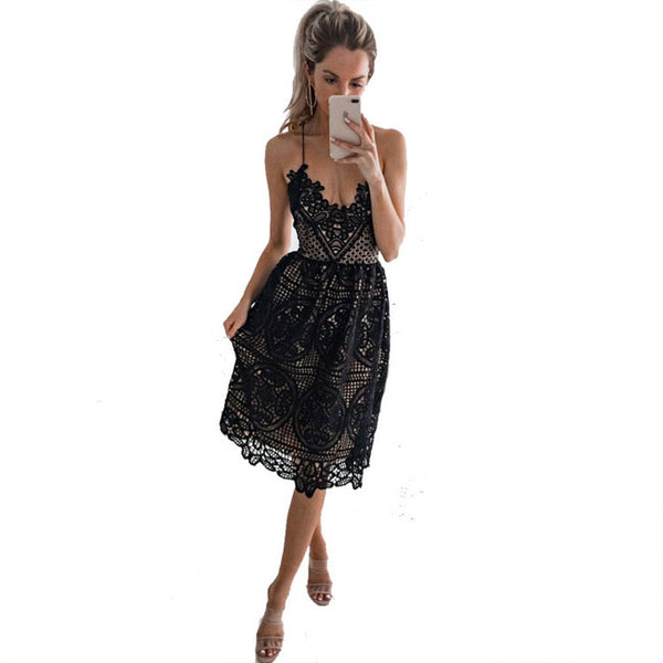 Fresh Women Party Sling Backless Hollow Lace Halter Summer Dress