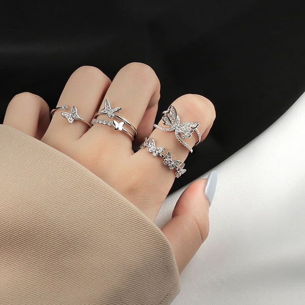 Cute Double Layer Butterfly Hollow Diamond Open Silver Women Ring