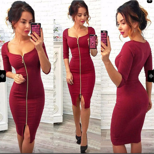 Sexy Women's Three Quarter Sleeves Whole Color Zipper Package Hip Skirt Dress