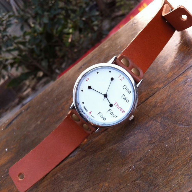 Funny White Dial Leather Watch - lilyby