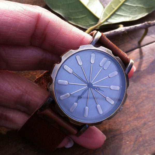 Retro Abstract Bronze Leather Watch - lilyby
