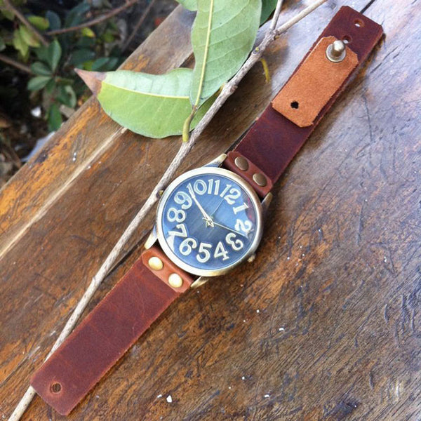 Handmade Big Convex Dial Retro Leather Watch - lilyby