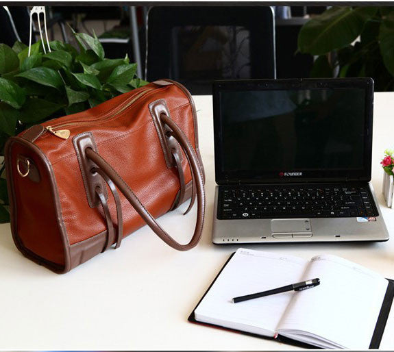 Retro Simple Brown Commuter Travel Handbag - lilyby