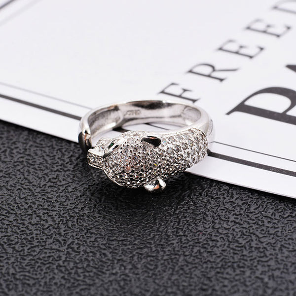 Unique Design Silver Leopard Adjustable Diamond Animal Open Ring