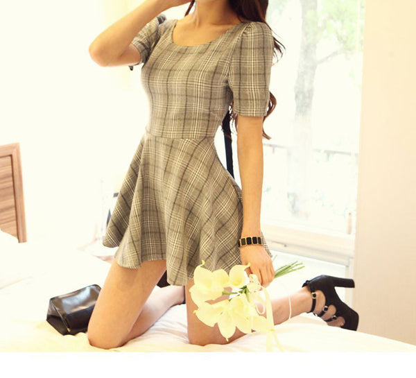 Graceful Plaid Halter Bowknot Slim Dress - lilyby