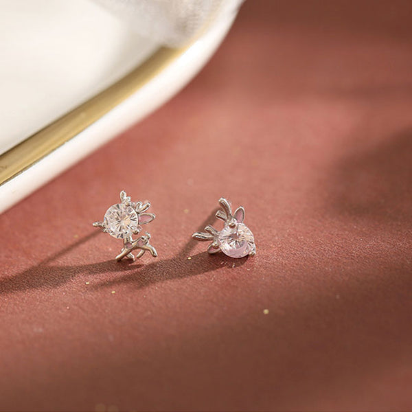 Fashion Deer Crystal Elk Female 925 Silver Mini Animal Women Earring Studs