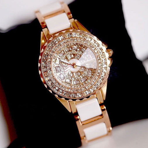 Elegant Luxury Diamond Gold Watch Noble White Ceramic Strap Rhinestone Watch