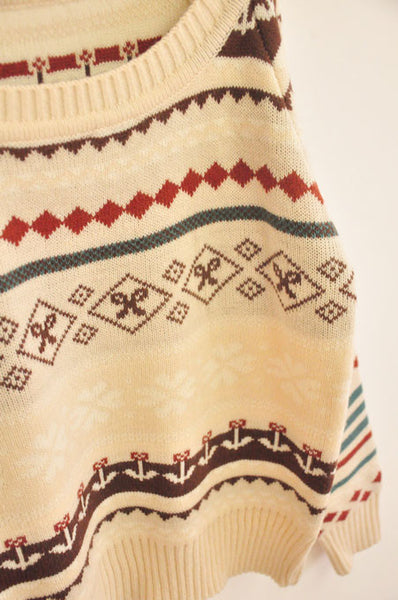 Retro Chocolate Geometric Graphic Thick Loose Sweater&Cardigan - lilyby