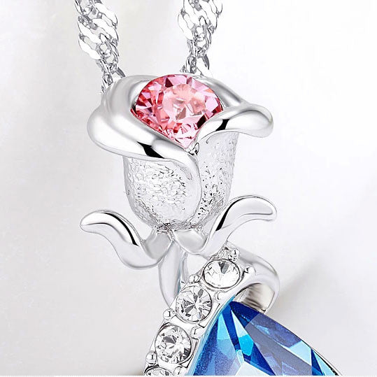 New Silver Rose Crystal Necklace - lilyby