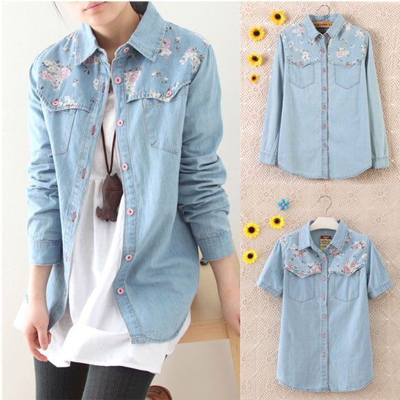 Retro Floral Washed Denim Shirt - lilyby