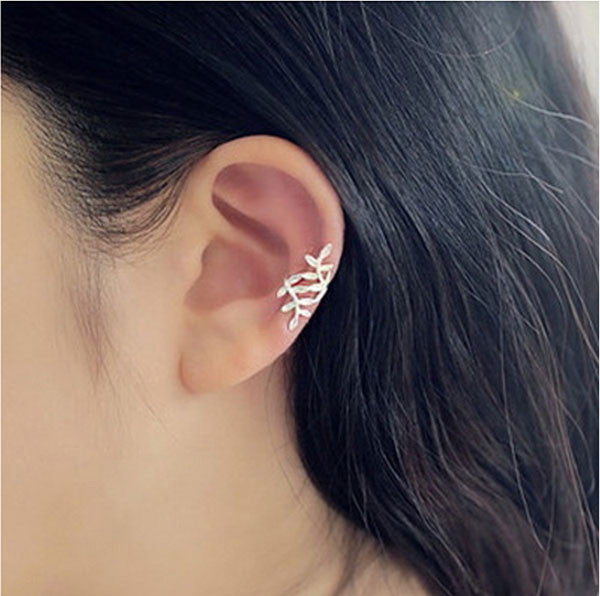 Sweet Leaves Silver Pierced Ear Clip Earring