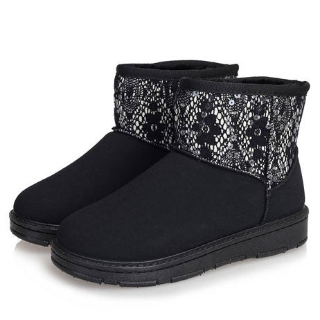 Sequin Waterproof Ladies Cotton Snow Boots