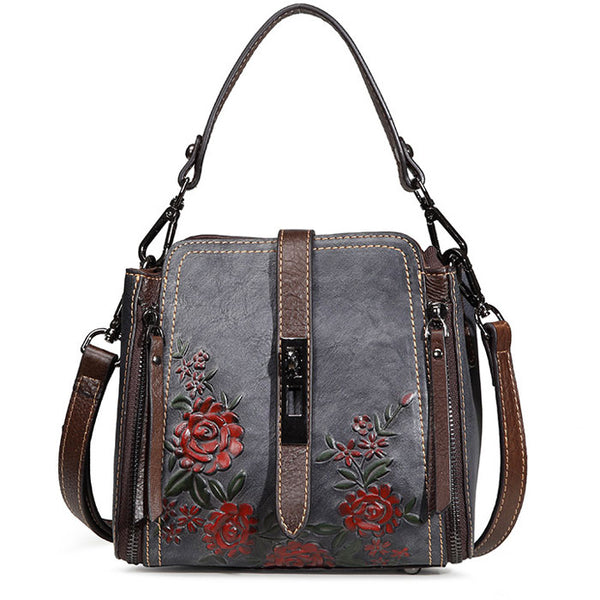 Retro Single Buckle Double Vertical Zippers Flower Shoulder Bag