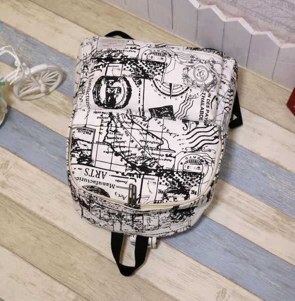 Fashion Canvas Graffiti Map Casual Backpack &Schoolbag