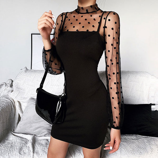 Sexy Black Stitching Long-Sleeved Dress Polka Dot  Mesh Formal Dress