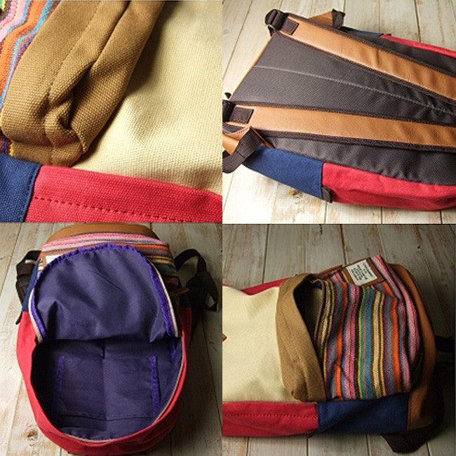 Folk Fashion Mixing Color Stripe Print Canvas Backpack ...