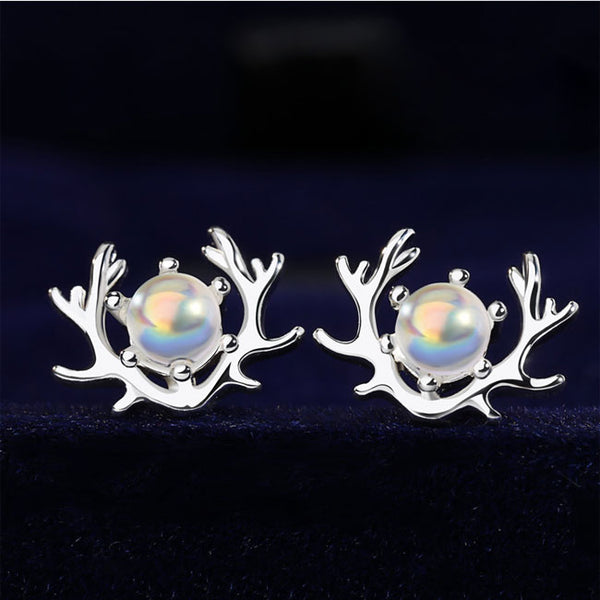 Cute Silver Female Simple Creative Student Earring Moonstone Elk Antlers Earring Studs