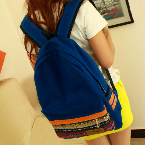 Retro Folk Geometric Canvas School Backpack - lilyby