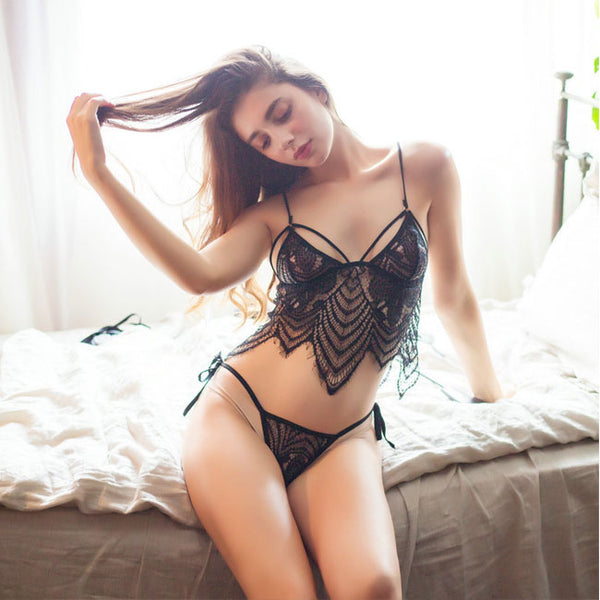 Sexy Black Lace Bra Set Underwear Leaves Tassel Women Intimate Lingerie