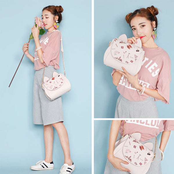 Cartoon Cat Ear Chain Strap Women Shoulder Bag