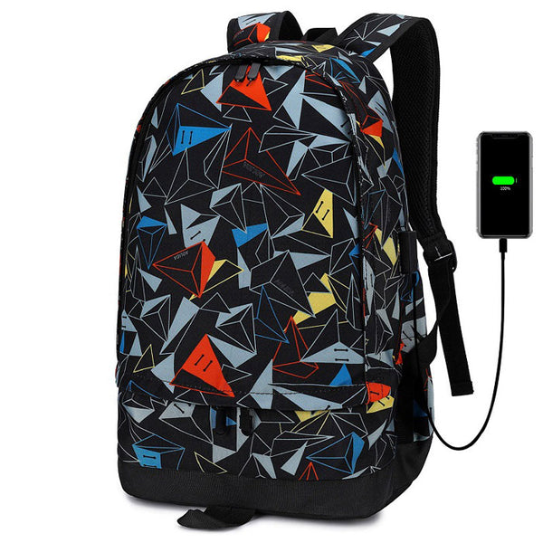 Leisure Triangle Print Oxford Outdoor Large Capacity Backpack Mountaineering Travel Basketball Bag School Backpack