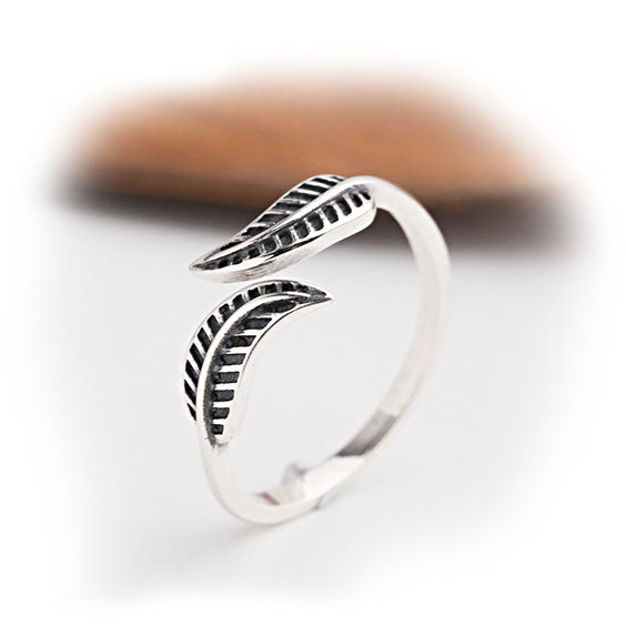Vintage Leaf Adjustable Women's Leaves Silver Ring
