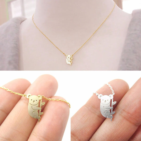 Cute Bear Pendant Necklace Small Animal Gold Silver Plating Necklace
