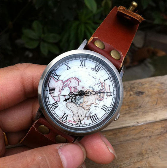 Handmade Retro World Map Leather Watch - lilyby