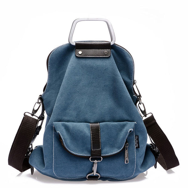 Unique Retro Multi-function Shoulder Bag School Canvas Backpack