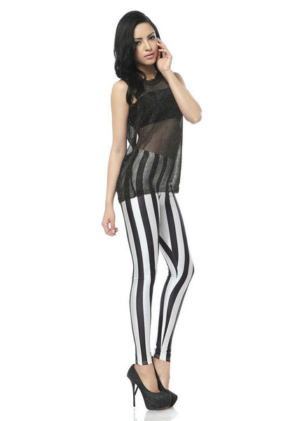 New Black and White Vertical Striped Zebra Leggings - lilyby