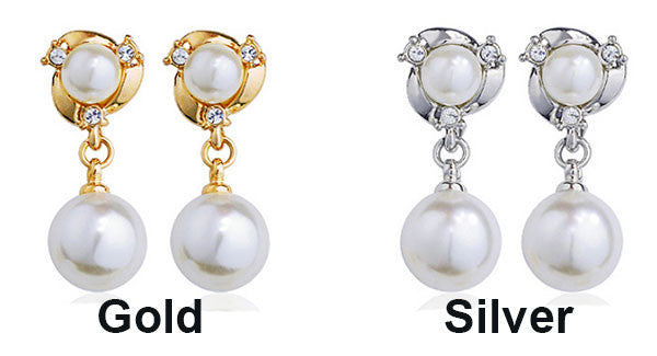 Cute Diamond-bordered Pearls Silver Women Earring Studs Pearls Ear Drop Graceful Ear Clip