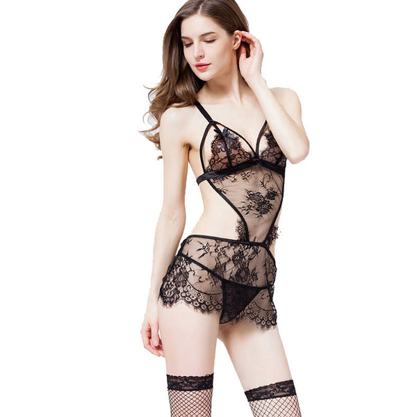 Sexy Black Lace Lingerie See Through One Piece Babydoll Women's Lingerie