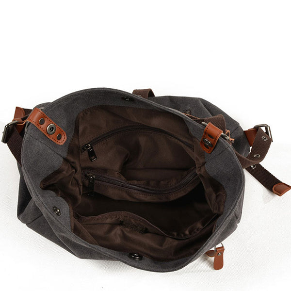 Leisure Multifunctional Canvas Handbag Backpack Bucket Messenger Bag Shoulder Bag