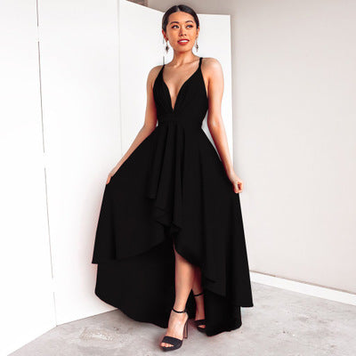 Elegant Sexy High Low Prom Dress Women's Deep V Neck Strap Party Dress