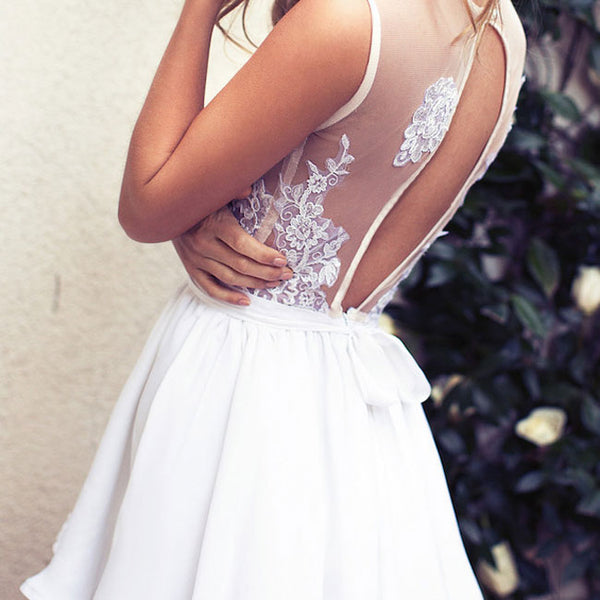 Elegant Deep V Neck Lace Short White Party Prom Dress