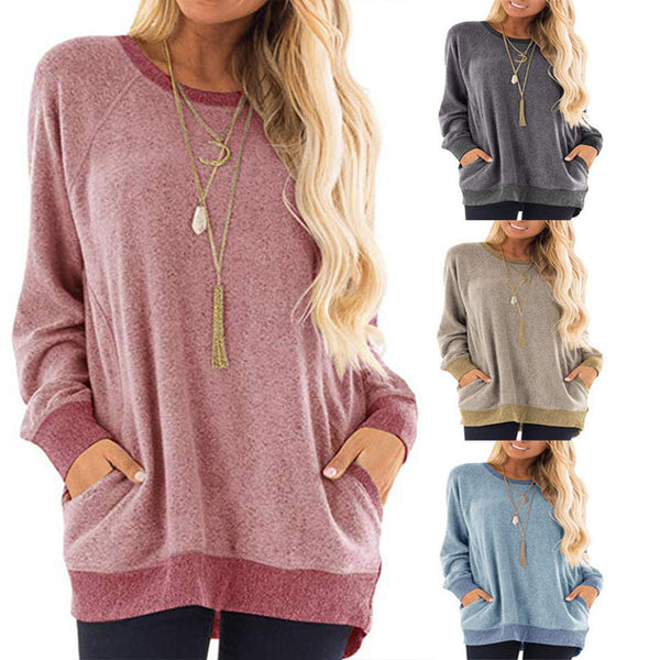 Leisure Large Loose Long Sleeve Round Neck Pullover Sweatshirt T-shirt Tops Women Coat