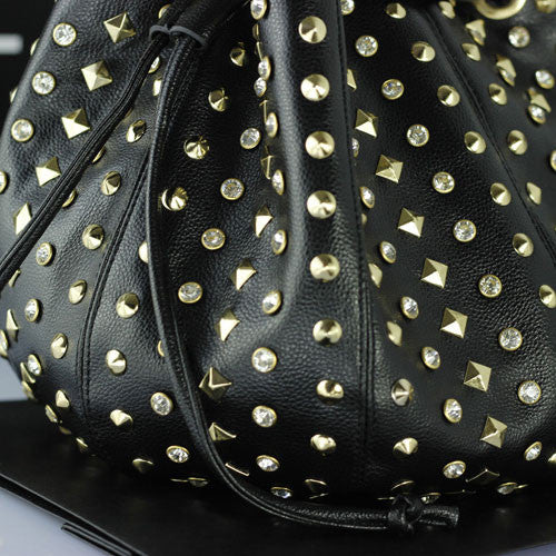 New Diamond Rivets Bucket Leather Bag - lilyby