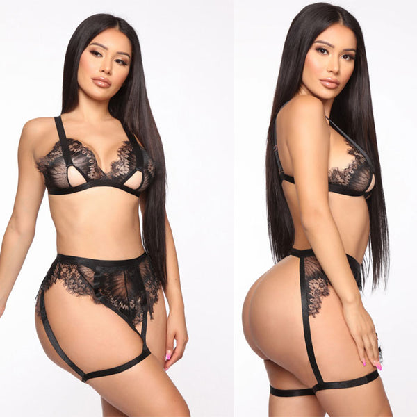 Sexy Black Lace Hollow Underwear Socks Bra Set Lace Intimate Women's Lingerie