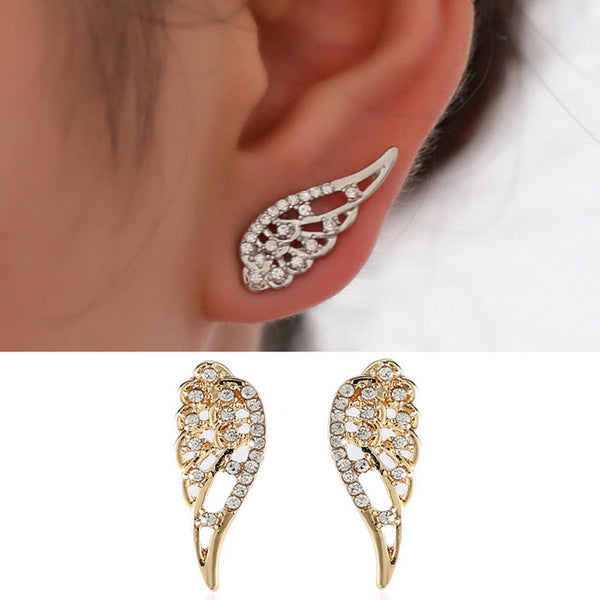 Cute Rhinestone Girl's Angel Wings Earring Studs