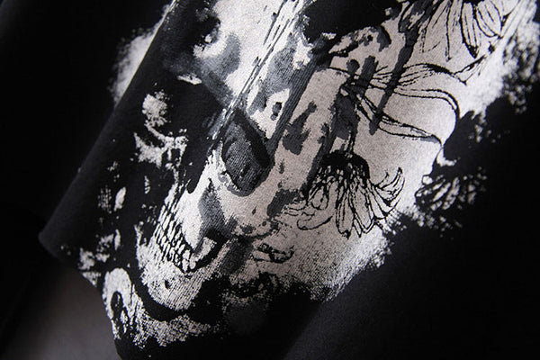 New Skull Print Dovetail Sleeve T-shirts - lilyby