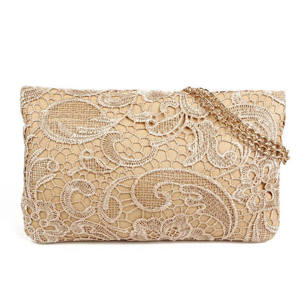 Graceful Floral Embroidered Rivet Lace Handbag - lilyby