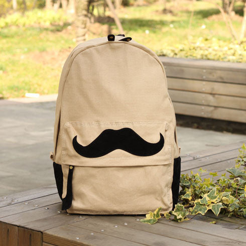New Mustache Pattern Canvas Backpacks - lilyby