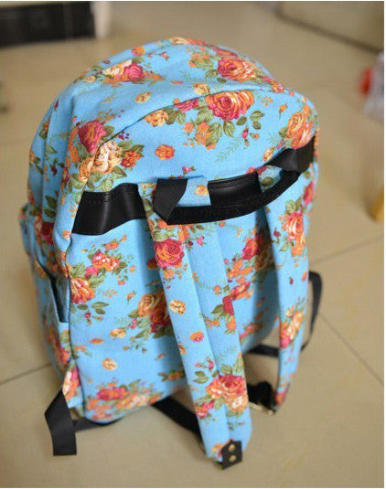 New Fashion Rose Print Canvas Backpack - lilyby